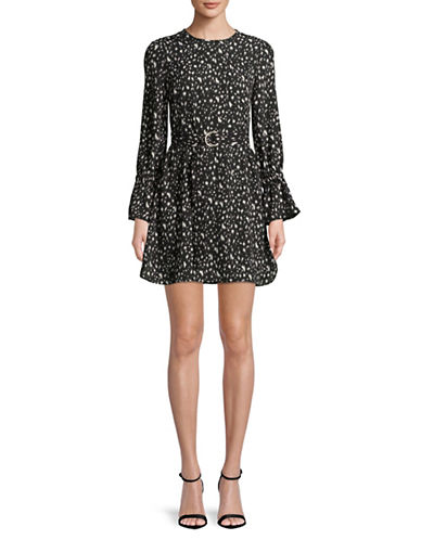 Ellen Tracy Petite Belted Bell Sleeve Fit-And-Flare Dress-STARRY NIGHT-Petite 8
