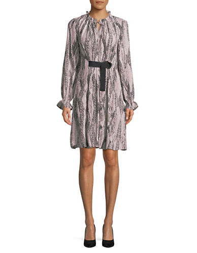 Ellen Tracy Petite Georgette Printed Shirtdress-GREY-Petite 10