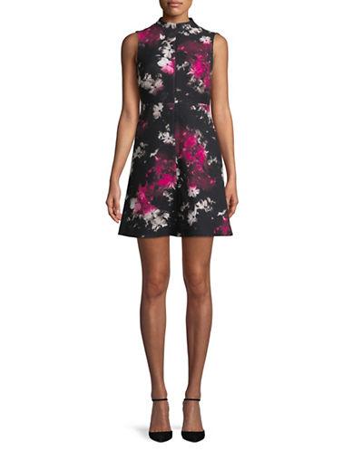 Ellen Tracy Petite Seamed Mock Neck Dress-BLACK-Petite 12