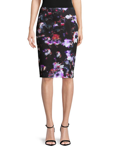 Ellen Tracy Petite Printed High Waist Pencil Skirt-BLUE-Petite 8