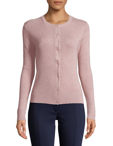Ellen Tracy Petite Metallic Pointelle Cardigan-PINK-Petite Medium