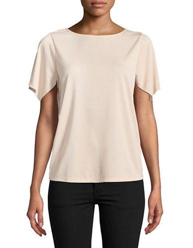 Ellen Tracy Short Flutter Sleeve Top-PIINK-Medium