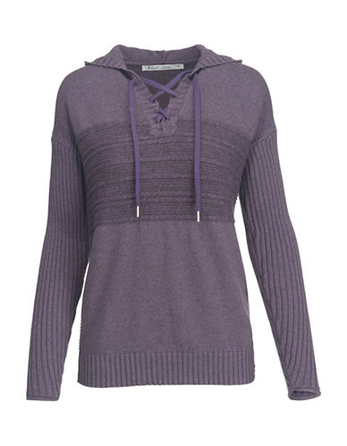 Woolrich Ribbed Lace-Up Hoodie-PURPLE-Small