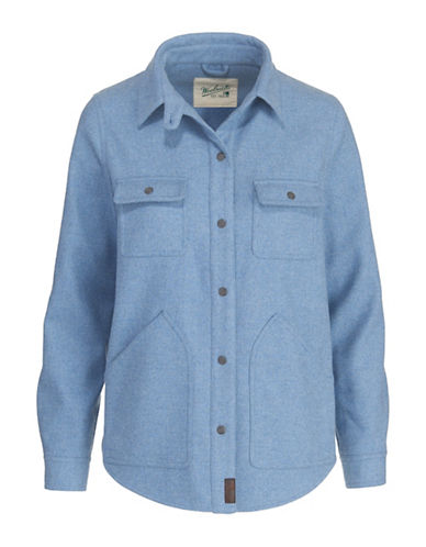 Woolrich Long Sleeve Shirt Jacket-BLUE-Large