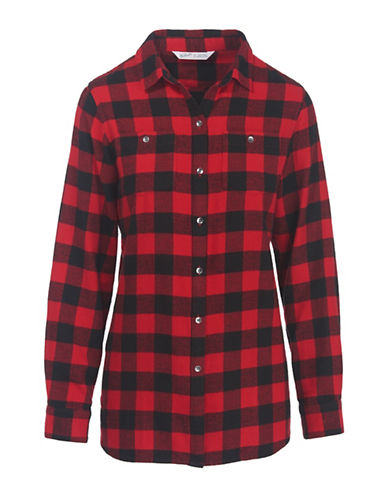 Woolrich Flannel Cotton Sport Shirt-RED-Small
