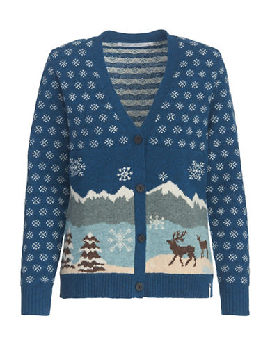 Woolrich Long Sleeve Lambswool Cardigan-BLUE-Large