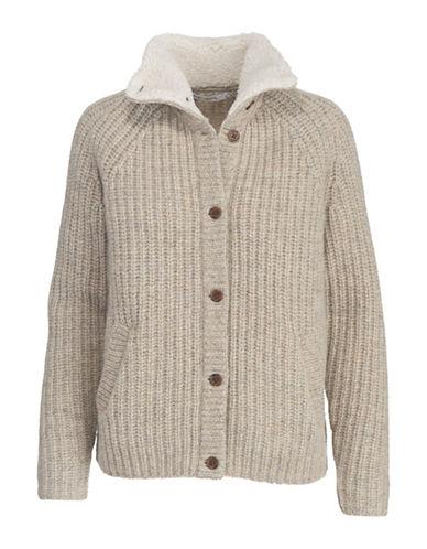 Woolrich Faux Fur-Trimmed Wool Cardigan-OATMEAL-Large