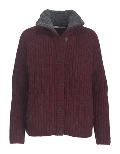 Woolrich Faux Fur-Trimmed Wool Cardigan-RED-Small