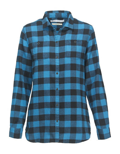 Woolrich Flannel Cotton Sport Shirt-BLUE-Large