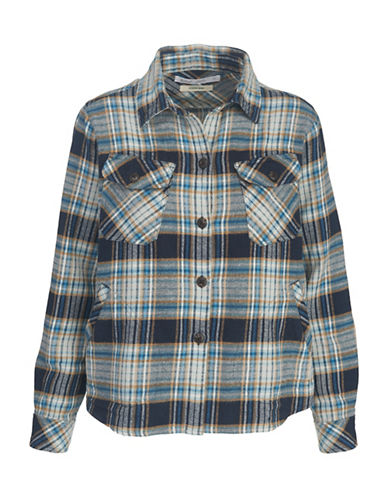 Woolrich Flannel Cotton Shirt Jacket-BLUE-Small