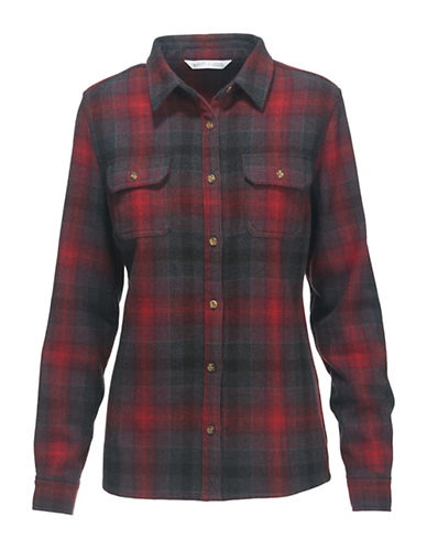 Woolrich Wool Plaid Dress Shirt-RED/CHARCOAL-Medium