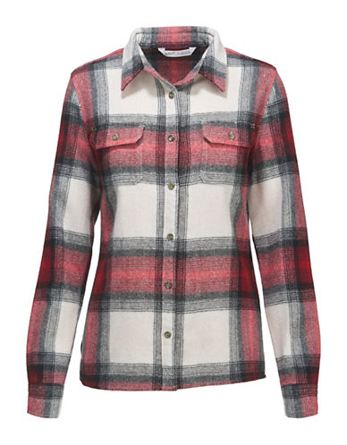 Woolrich Wool Plaid Dress Shirt-RED/WHITE-Large