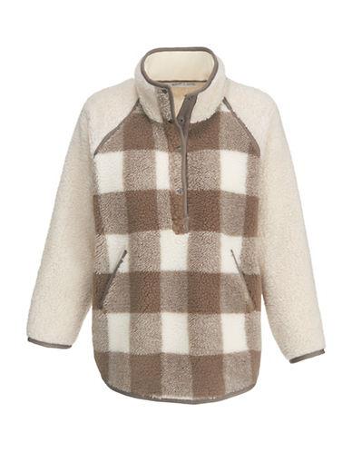 Woolrich Plaid Faux-Fur Poncho-BEIGE-M/L