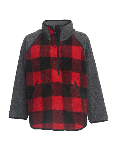 Woolrich Plaid Faux-Fur Poncho-RED-M/L