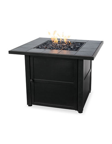 Blue Rhino Gas Outdoor Slate Tile Mantle Firebowl-BLACK-One Size