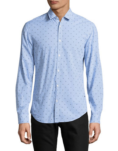 Boss Green C-Bersh Gingham Slim Fit Stretch Shirt-BLUE-XX-Large