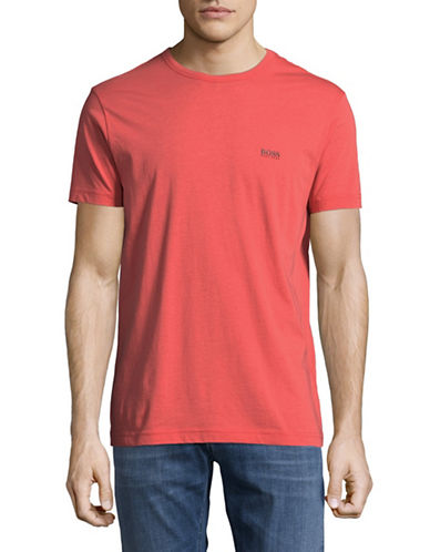 Boss Green Regular-Fit Rubberized Logo Tee-PINK-Medium