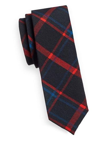 Hugo Tartan Plaid Tie-RED-One Size
