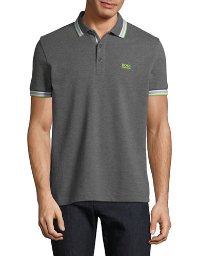 Boss Green Paddy Regular-Fit Pique Polo-CHARCOAL-Large