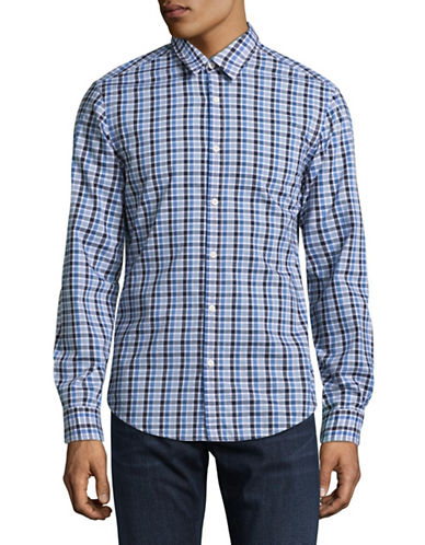 Boss Green C-Bustai Regular-Fit Check Long Sleeve Shirt-NAVY-X-Large