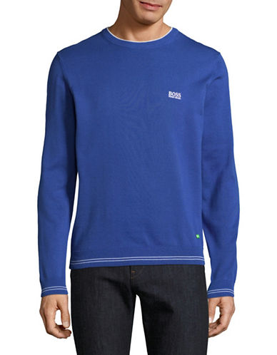 Boss Green Rime Crew Neck Logo Sweater-BLUE-Large