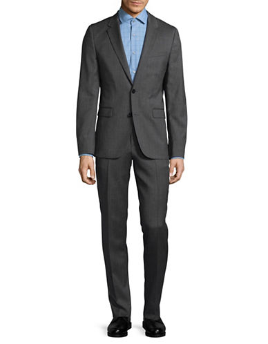 Hugo Herringbone Virgin Wool Suit-GREY-36