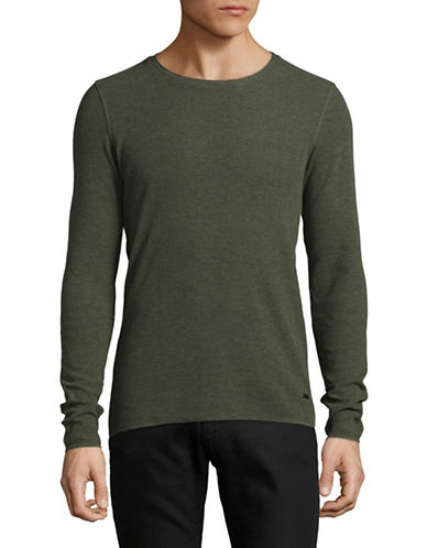 Boss Orange Slim-Fit Thermal-Knit Top-GREEN-Medium