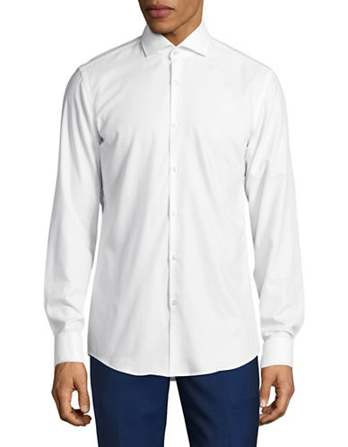 Hugo C-Jales Slim-Fit Dobby French Cuff Shirt-WHITE-EU 41/US 16