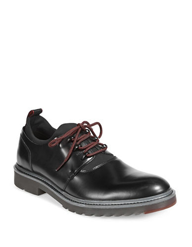 Hugo Pure Leather Derby Shoes-BLACK-12