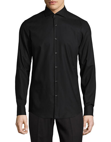 Hugo C-Jales Slim-Fit Dobby French Cuff Shirt-BLACK-EU 43/US 17