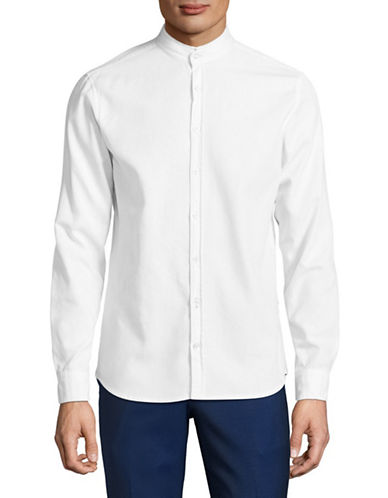 Boss Orange Mandarin Collar Shirt-WHITE-X-Large