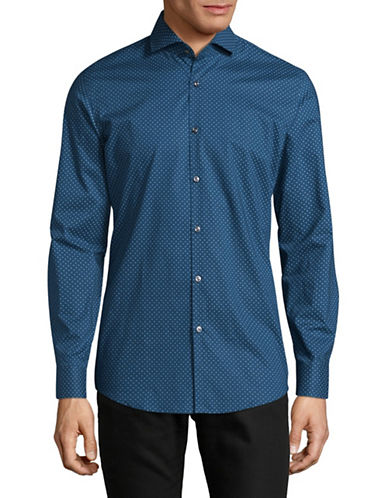 Hugo C-Jason Printed Long Sleeve Shirt-BLUE-EU 43/US 17