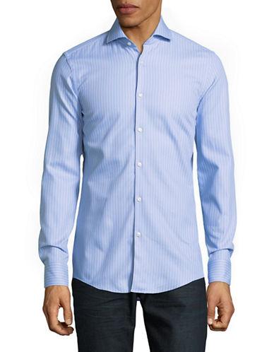 Hugo Slim Fit Button-Down Pinstripe Shirt-PASTEL BLUE-EU 39/US 15.5