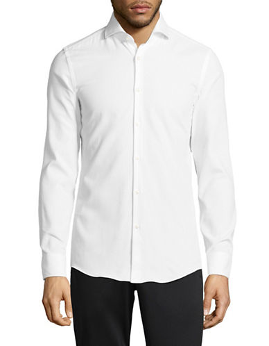 Hugo Slim Fit Button-Down Shirt-WHITE-EU 41/US 16