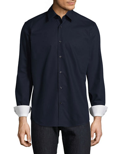 Hugo C-Elwin Solid Shirt-NAVY-EU 39/US 15.5