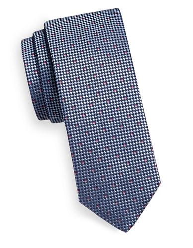 Hugo Micro Check Silk Tie-BLUE-One Size