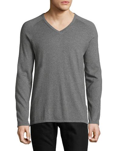 Hugo V-Neck Sweater-GREY-Large