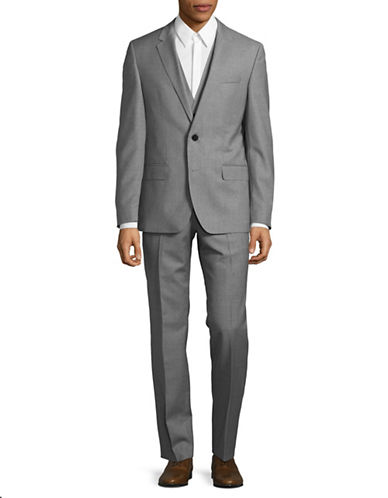 Hugo Three-Piece Virgin Wool Suit-GREY-44 Tall