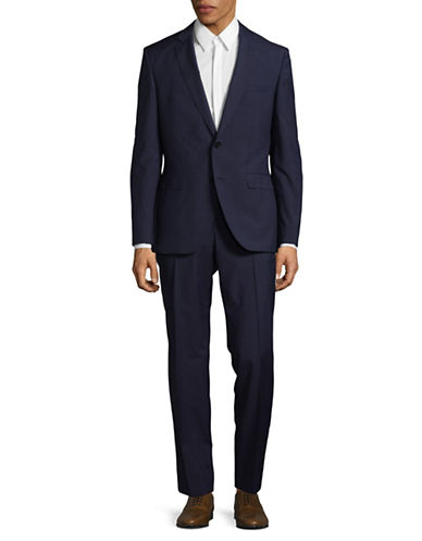 Hugo Tonal Virgin Wool Suit-BLUE-42 Tall