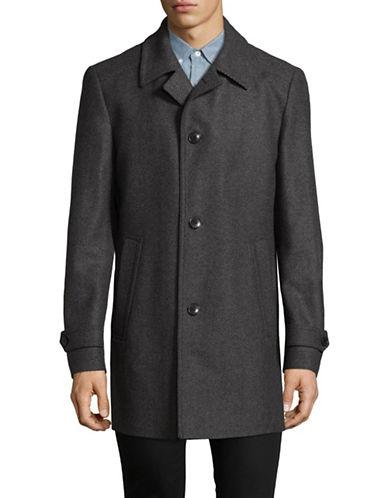 Hugo Textured Wool-Blend Overcoat-GREY-42