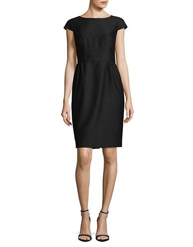 Hugo Cap Sleeve Sheath Dress-BLACK-EUR 42/US 10
