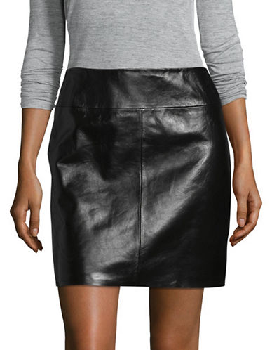 Hugo Letitia Leather Mini Skirt-BLACK-X-Large
