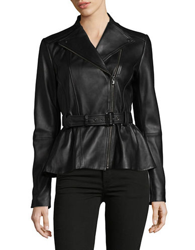 Hugo Lucila Belted Leather Moto Jacket-BLACK-Medium