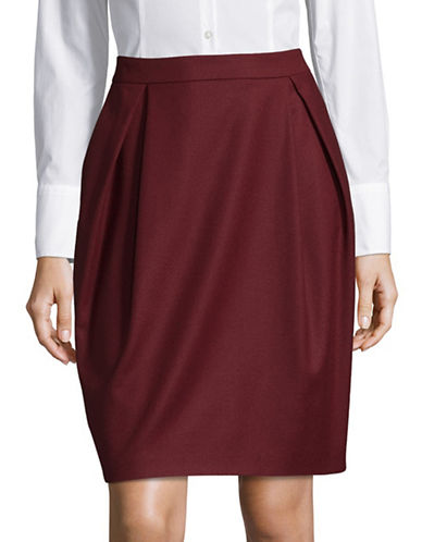 Hugo Riania Wool-Blend Pencil Skirt-RED-EUR 40/US 8