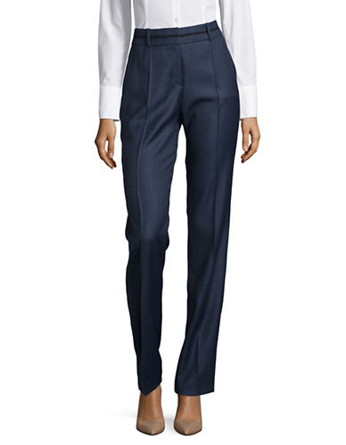 Hugo Wool Plaid Trousers-BLUE-EUR 42/US 10
