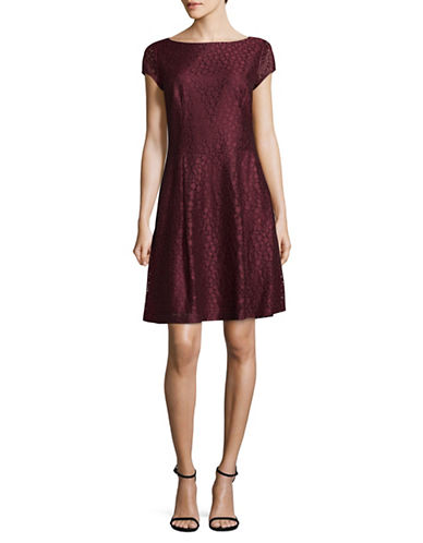 Hugo Lace A-line Dress-RED-EUR 40/US 8