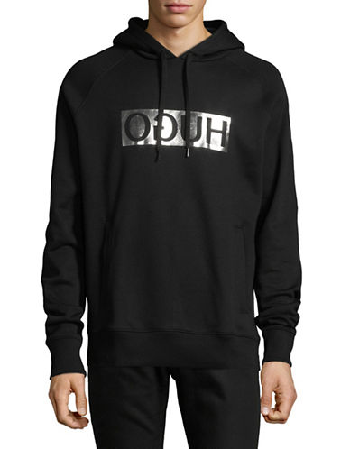 Hugo Logo Hooded Sweatshirt-BLACK-Medium 89754053_BLACK_Medium