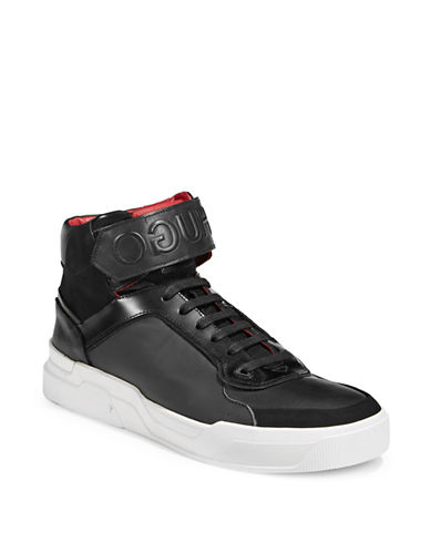 Hugo Symmetric High-Top Sneakers-BLACK-9