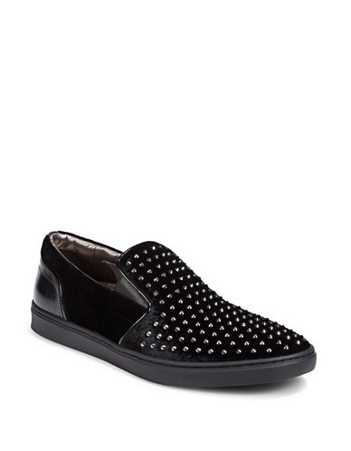 Hugo Post Rockstud Slip-On Sneakers-BLACK-12