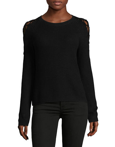 Hugo Skylona Lace-Up Shoulders Sweater-BLACK-X-Small